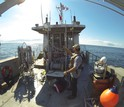 Researchers at the Northeast U.S. Shelf LTER site deploy instruments off the coast of Massachusetts.